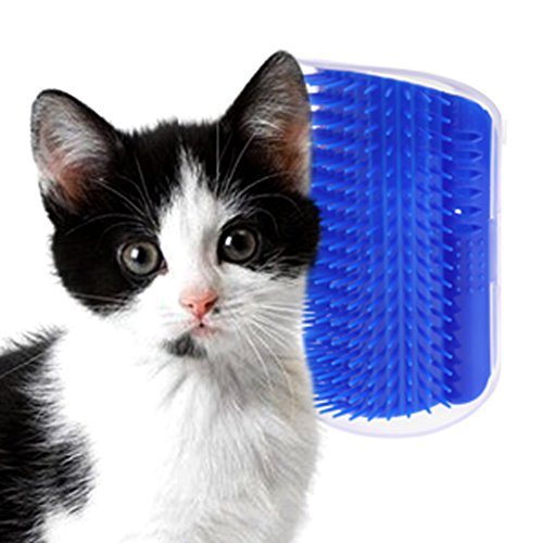 Hukai Pet Cat Self Groomer Hair Removal Brush Comb Shedding Trimming Massage With Catnip