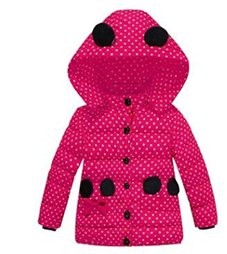 Jacket Girl Down Parka Children Jacket Outwear Boy Coats Long Sleeve Hooded Cotton Baby Kid Coat Snowsuit Rose 6
