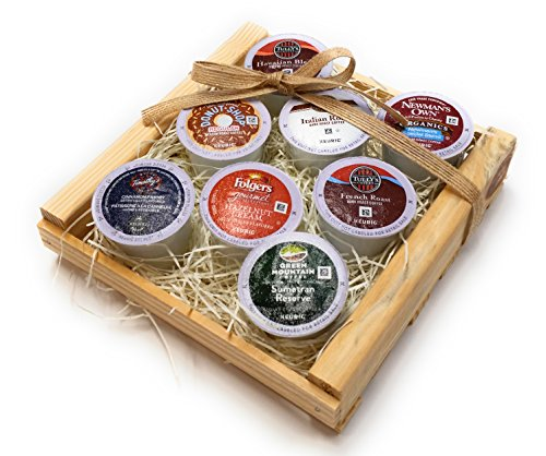 K-Cup Coffee Gift Basket- K-Cup Sampler Pack In Natural Wood Crate- 8 K-Cups……