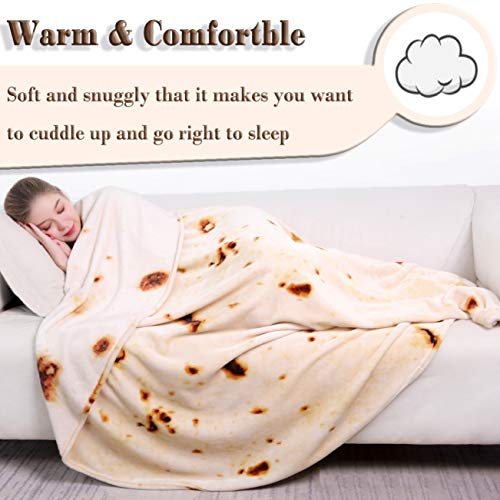 mermaker Burritos Blanket for Adult and Kids, Novelty Tortilla Blanket Adult 71 inches, Realistic Soft Flannel Taco Blanket (Yellow Blanket-4)