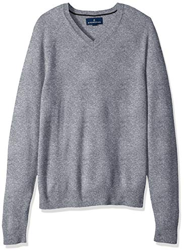 Sweater Cashmere V-neck Grey - BUTTONED DOWN Men's 100% Premium Cashmere V-Neck Sweater, Grey, X-Large