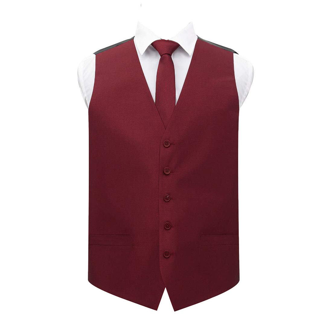 DQT Plain Shantung Wedding Waistcoat Vest /& Matching Neck Tie for Men in Various Colours and Sizes