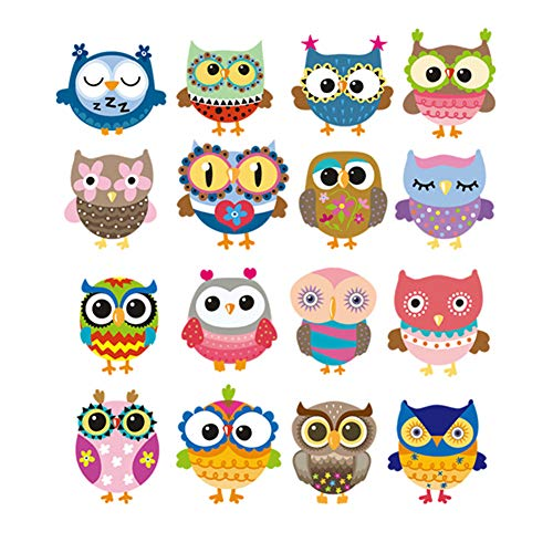 ((40 Styles can Choose) DzIxY 1 Sheet Watercolor Cartoon Owl Thermal Stickers Heat-Sensitive Hippie Patches Iron on PVC Transfers Eco-Friendly Appliques for Clothes)