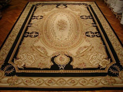 Beige Aubusson Wool Oval Medallion Rich Tones Handmade Rug 12x18 Rug (Aubusson Oval Rug)