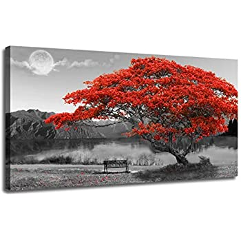 Ardemy Canvas Wall Art Prints Red Tree Picture Modern Lake Panoramic Moon Painting, Extra Large Landscape Artwork Wooden Framed Ready to Hang for Living Room Bedroom Dinning Room Wall Decor, 48