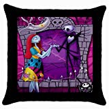 Nightmare Before Christmas Throw Pillow Case Black 100% Cotton Size 18x18 Inch for Living Area or Bedroom Gifts NEW