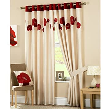 Red Curtains amazon red curtains : Danielle Cream and Red Pair of Eyelet Curtains 90