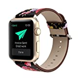 YOSWAN Bracelet for Apple Watch, National Black White Floral Printed Leather Watch Band Strap for Apple Watch Flower Design Wrist Watch Bracelet, Black Pink Flower, 38mm