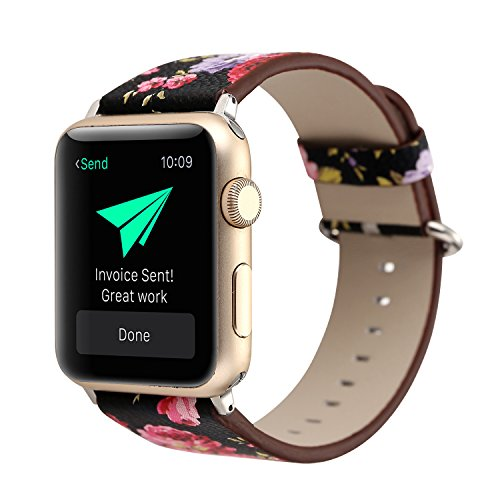 (YOSWAN Bracelet for Apple Watch, National Black White Floral Printed Leather Watch Band Strap for Apple Watch Flower Design Wrist Watch Bracelet, Black Pink Flower, 38mm)