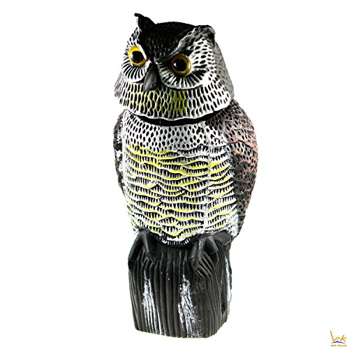 WK Home Rotating Head Owl Decoy, Garden Protection Repellent Bird Scarer Scarecrow (Head Owl Decoy)