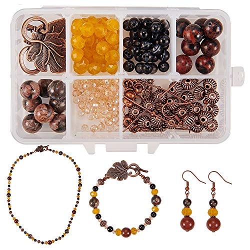 (SUNNYCLUE 1 Box DIY 1 Set Jewelry Making Kit - Beading Starter Kits Jewelry Making Supplies for Adults, Girls, Teens and Women with Leaf Toggle Clasps, Red Copper, Instruction)