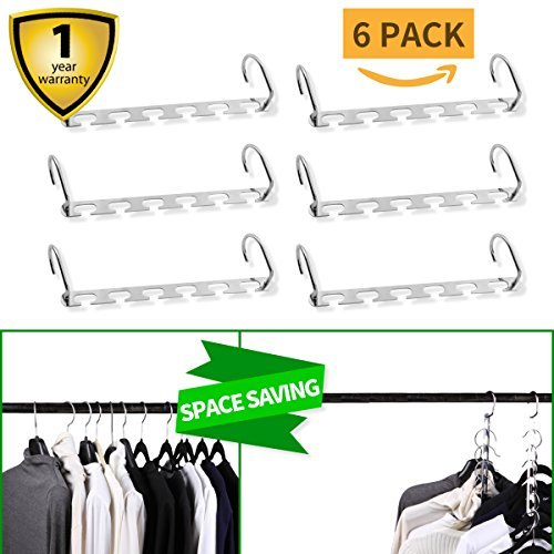 U.Smile Closet Organization Hangers Space Saving Organizer Clothing Hangers As Seen On TV Cascading Vertical Clothes Hangers For Wardrobe Space Saver (Metal)