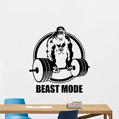 Beast Mode Gym Motivational Wall Decal Monkey Bodybuilder Gym Decor Fitness Vinyl Sticker Fitness Motivation Sports Wellness Gym Wall Art Design Gym Quote Wall Art Mural 54fit
