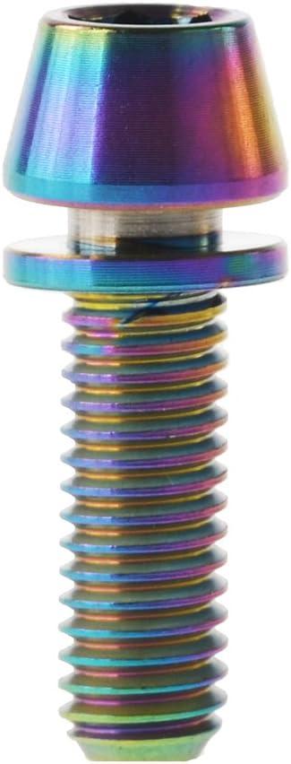 Confezione da 6 Yaruijia Dadi M5/x 16/18/20/mm Stelo Esagonale Conico Testa bullone per Bicicletta con rondella