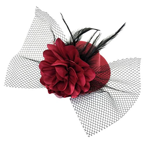 Coolr Women's Fascinator Flower Hair Clip Feather Burlesque Punk Mini Hat (Wine Red) (Feather Fancy Red Wool Hat)