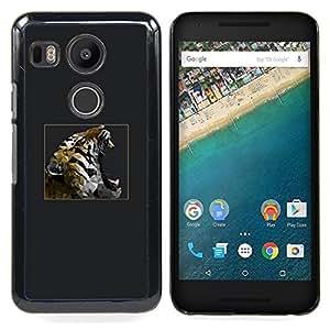 Queen Pattern - FOR LG Google Nexus 5X - Grey Tiger Roar Poster Teal Minimalist - Cubierta del caso de impacto con el patr???¡¯???€????€????&sup
