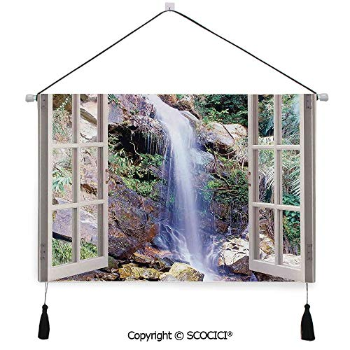 - SCOCICI Durable Material Multipurpose W24xL17inch Wall Hanging Tapestry Open Window Sees A Small Water Cascade Flowing Down Hills Recreational Picture Decorative Painting Living Room Painting Fabric