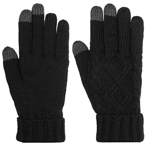 Dg Hill Warm Texting Gloves For Women  Cable Knit Touchscreen Winter Text Gloves Cute   Cozy Fleece Lining Black One Size