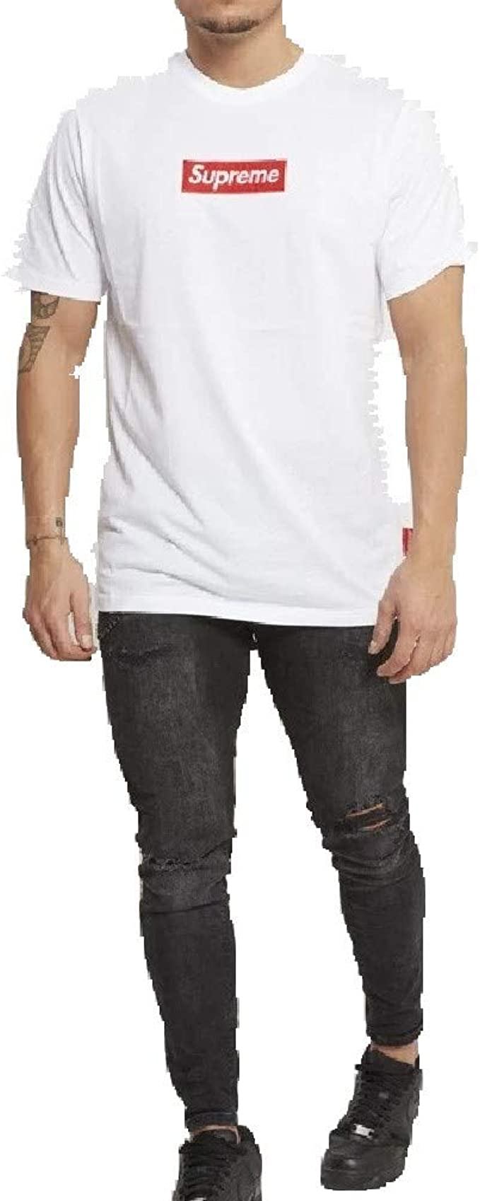 Supreme Italia - Camiseta con diseño Hombre suts 1103 Blanco Dope Skate Streetwear Mode, Blanco con Tira roja, M: Amazon.es: Ropa y accesorios