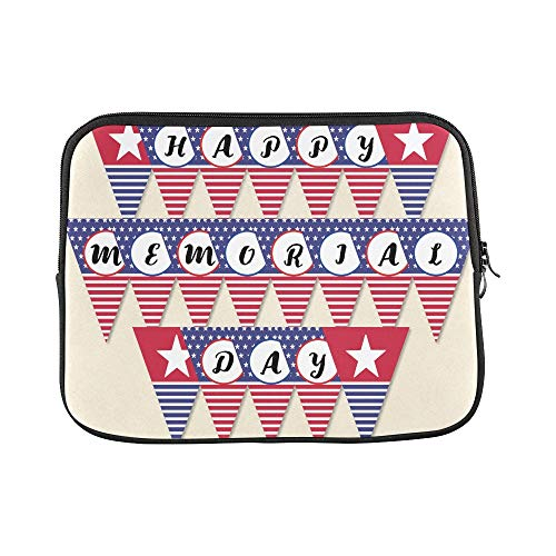 Design Custom Happy Memorial Day Flag Banner Patriotic Party D Sleeve Soft Laptop Case Bag Pouch Skin for MacBook Air 11