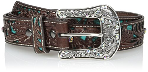 Ariat Women's Blue Inlay Floral Bling Belt, brown, Small