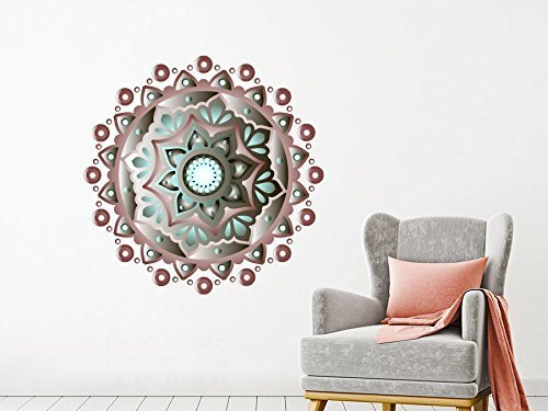 Mural Pattern - Wall Decals Mandala Full Color Vinyl Sticker Decal Colorful Floral Home Decor Bohemian Bedroom Ornament Moroccan Pattern Namaste EN4