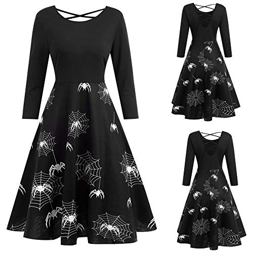 Wobuoke Womens Halloween Web Print Butterfly Embroidery Long