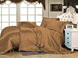 Roch Linen Hotel Quality Silky Soft Luxurious Satin 7 Pc Sheet Set Wrinkle & Fade Resistant, Hypoallergenic Breathable Durable Comfort Bedding Set With Duvet Set !!!Queen, Taupe For Sale