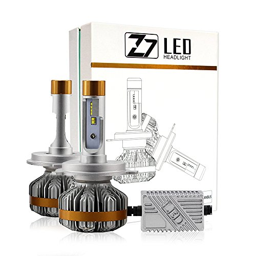 Bobel Car LED Headlight Bulbs Canbus Conversion Kit H4 High-Low, 14000LM/12000LM Per Set, 6500K Cool White Lumileds Luxeon ZES Chips - 3 Years Warranty ()