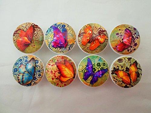 (Set of 8 Butterfly Swirl Wood Cabinet)