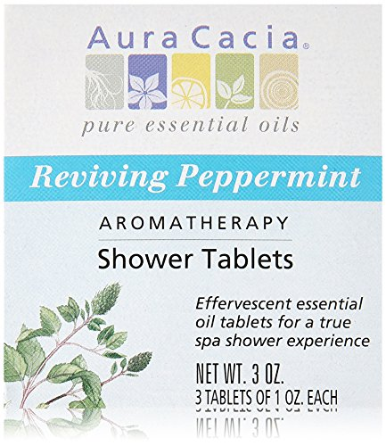 Aura Cacia Shower Tablet Peppermint Reviving, 3 Ounce