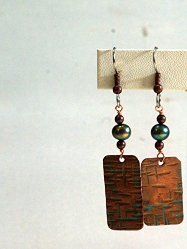 Copper Embossed Earrings - Verdigris Patina Copper Rectangles with Mint Colored Pearls - Crosshatch Cut Copper Pattern