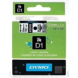 DYMO Standard D1 45010 Labeling Tape ( Black Print on Clear Tape , 1/2\'\' W x 23\' L , 1 Cartridge)