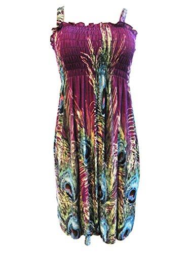 Women's Summer Butterfly Print Beach Casual Sundress (L, feather_purple)
