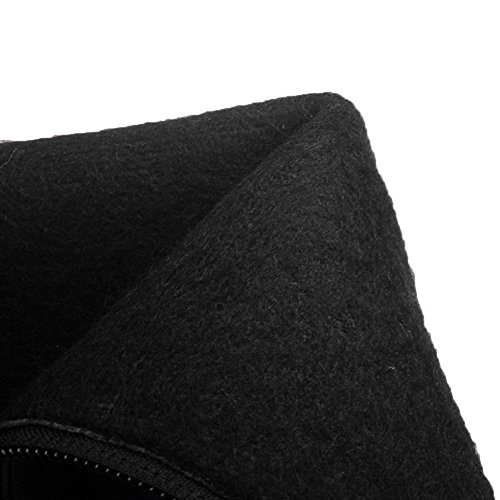 HooH Damen Halbschaft Stiefel Matt Kitten Chunky Reißverschluss Knie hoch Reitstiefel Schwarz