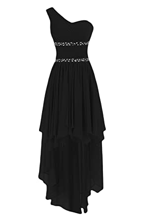 Sunvary Fashion One-Shoulder Chiffon Beads Homecoming Prom Dresses Bridesmaid Gown Size 2- Black