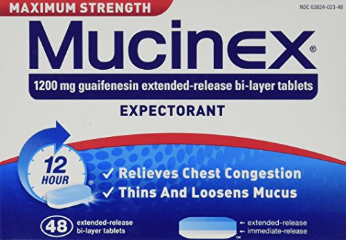 Maximum Strength Mucinex Expectorant 1200 mg Guaifenesin 48 Extended-Release Bi-layer Tablets
