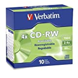 Verbatim 95170 CD-RW Discs, 700MB/80min, 2X/4X, Slim Jewel Case, Matte Silver, 10/Pack