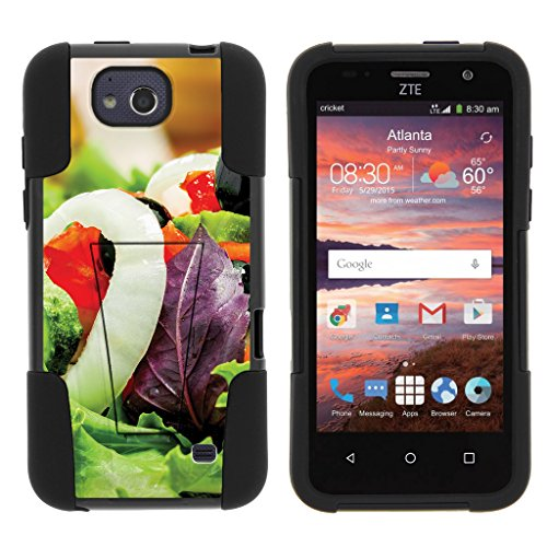 Overture Salad - TurtleArmor | Compatible for ZTE Overture 2 Case | ZTE Atrium | ZTE Scend [Gel Max] Hybrid Case Kickstand Shell Hard Protector Silicone Layer Food Image - Fresh Salad