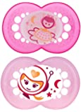 MAM Glow in the Dark Night Orthodontic Pacifier, Girl, 6+ Months, 2-Count