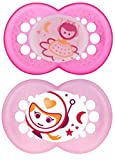 MAM Silicone Night Pacifier, Girl, Glows in The Dark, 6 Plus Months, 2-Count, (For Girl)
