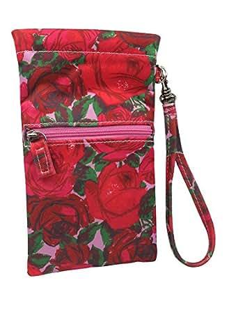 Amazon Com Women Soft Sunglasses Case Floral Wristlet Eyeglass Pouch With Zipper Pocket And