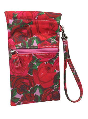 Sunglass Case Wristlet & Eyeglass Pouch with zipper pocket | Squeeze Top opening with Glasses Cleaning Cloth | Rachel Rowberry Floral Rose Design | Smart Phone Case & Makeup Pouch - Eyeglasses Top