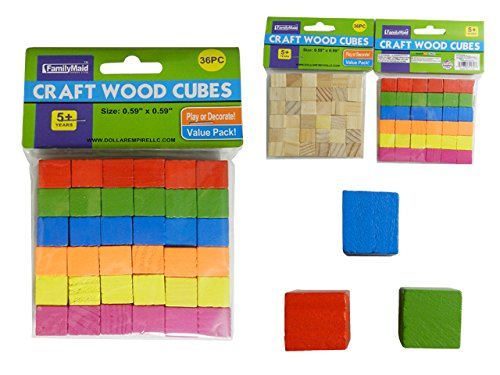 CRAFT WOOD CUBE 36PC , Case of 96