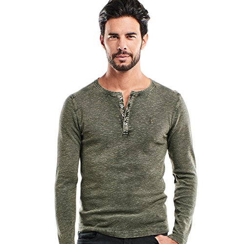 emilio adani Herren Henley Shirt, 24293, Grün