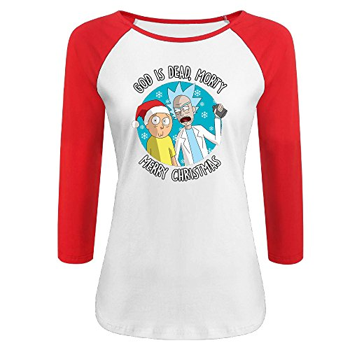Women's Rick & Morty Merry Christmas 100% Cotton 3/4 Sleeve Athletic Raglan Sleeves T-Shirt Red US Size M