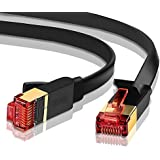 Ethernet Gigabit LAN Network Cable, 6 ft(2 Pack) Supports Advanced CAT 7 / 6 / 5e / 5 High Speed RJ45 Patch Cord   STP 10/100/1000Mbit/s Gold Plated Lead for Switch/ Router/ Modem - IBRA Flat Black