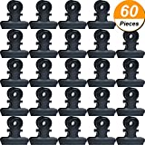 Hestya 60 Pack 0.87 Inch Metal Bulldog Clips File Paper Money Binder Clamps for Tags Bags, Shops, Office and Home Kitchen (Black, 22 mm)