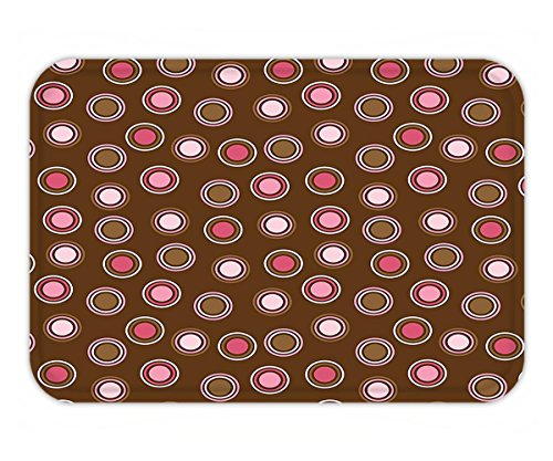 Minicoso Doormat Vintage Nostalgic Polka Dots with Large Retro Old Fashion Rounds Trendy Pretty Graphic Pink (Fushia Dots)