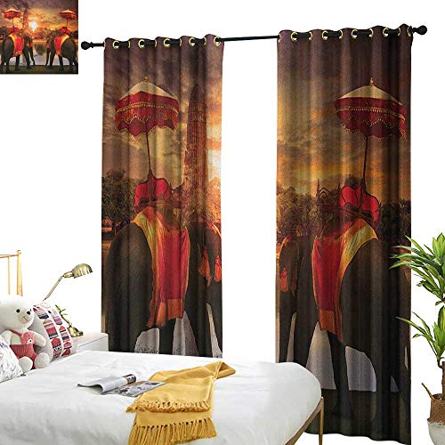 Insulated Sunshade Curtain Asian Animals Dressing Traditional Costumes Standing in Front of Pagoda Patience Symbol Print Set of Two Panels W96 x L84 Multi